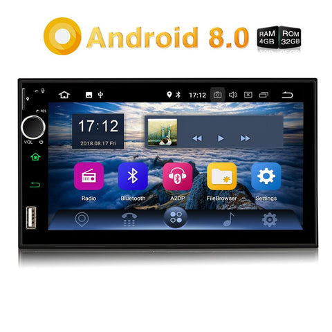 Car Stereos Android Universal Car Radio Double Din 7 Inch Touchscreen Octa Core with GPS Navi RAM:4GB & ROM: 32GB