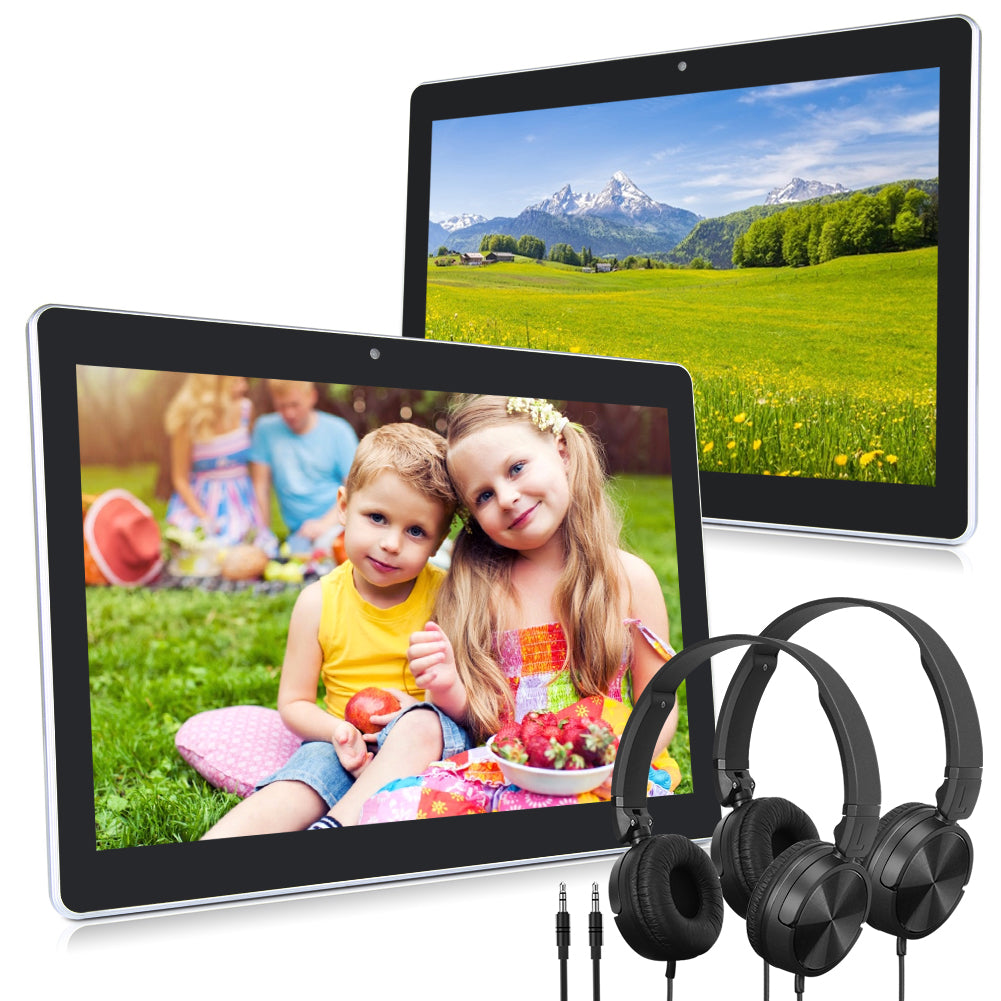 [Extra 10 Euro Rabatt]  2 × 10.1'' Android 8.1 Auto Tablet mit In-ear Kopfhörer HD Augenschutz IPS and 178° Betrachtungswinkel Touchscreen WIFI Bluetooth 2MP FrontKamera