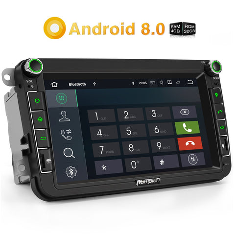 Pumpkin Car Radio Android 8.0 Double Din 8 Inch Touchscreen Octa Core for VW Skoda Seat series with Bluetooth  GPS Navigation RAM: 4GB + ROM: 32GB