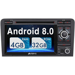Audi A3 Radio Doppel Din 7 Zoll Touchscreen Android 8.0 Autoradio für Audi A3 mit GPS-Navigation DVD-Player RAM: 4 GB + ROM: 32 GB