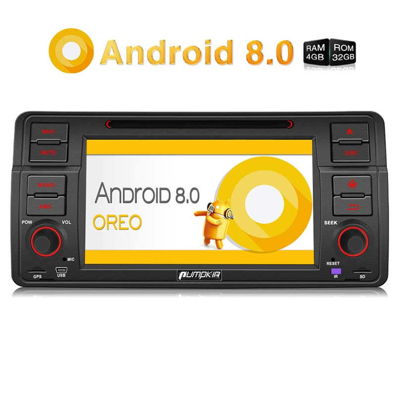 BMW E46 Head Unit Android 8.0 Autoradio für BMW E46 3er 7 Zoll Touchscreen mit GPS Navi DVD Player RAM: 4GB + ROM: 32GB