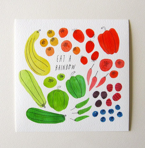 Eat A Rainbow Giclee 8x8 Art Print