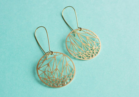 Circle Geometric Earrings | Brass