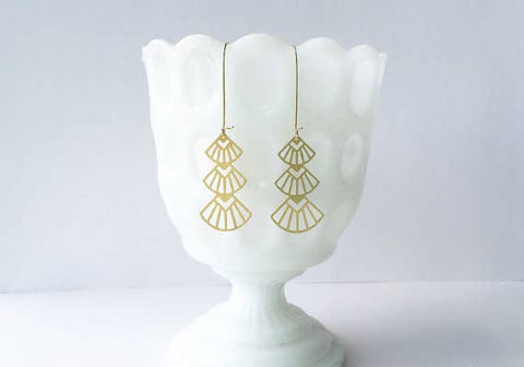 Art Deco Triangles Stacked Earrings