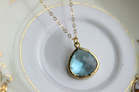 Blue Aquamarine Necklace Gold Plated