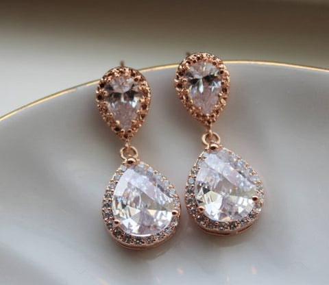 Rose Gold Crystal Stud Earrings