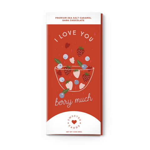"""I Love You Berry Much"" Valentines Day Card with Chocolate"