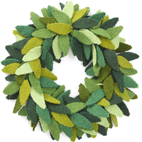 Handmade Hand Felted Wool Wreath - Multi Green Leaves - 14""