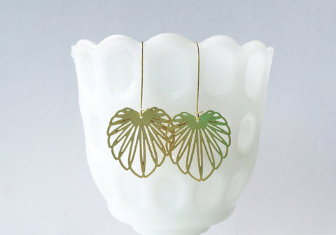Art Nouveau Leaf Earrings | Brass