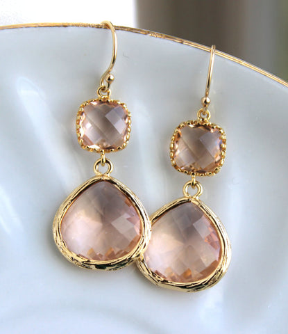 Gold Large Champagne Blush Earrings