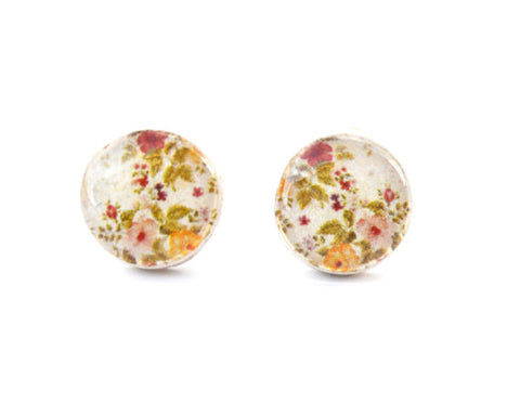 Cream Spring Floral Studs Post Earrings