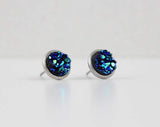 Blue Green Druzy Crystal Earrings | Stainless Steel