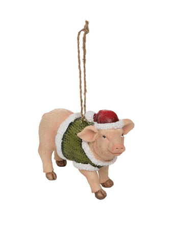 Transpac - Resin Pig Holiday Ornament