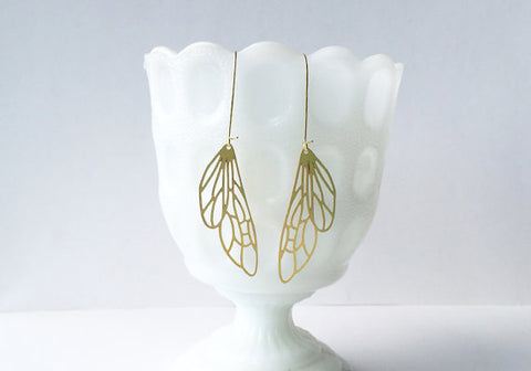 Insect Wing Earrings | Brass