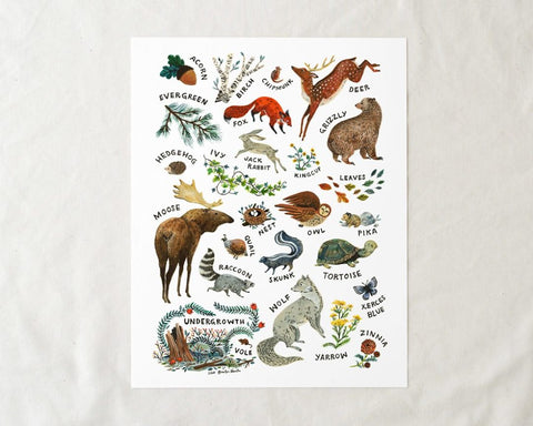 Woodland Alphabet Art Print