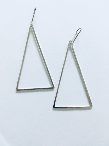 Triangle Wire Earrings - Sterling Silver
