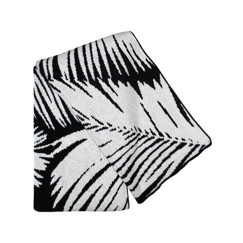 Paradise Black + White Palm Leaf Blanket