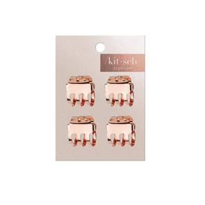Mini Claw Clips Square 4pc Set Rose Gold