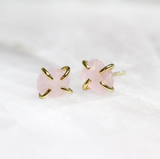 Rose Quartz - Gemstone Prong Earrings