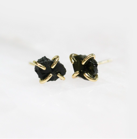 Obsidian- Gemstone Prong Earrings