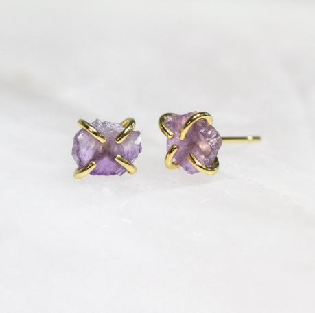Amethyst - Gemstone Prong Earring