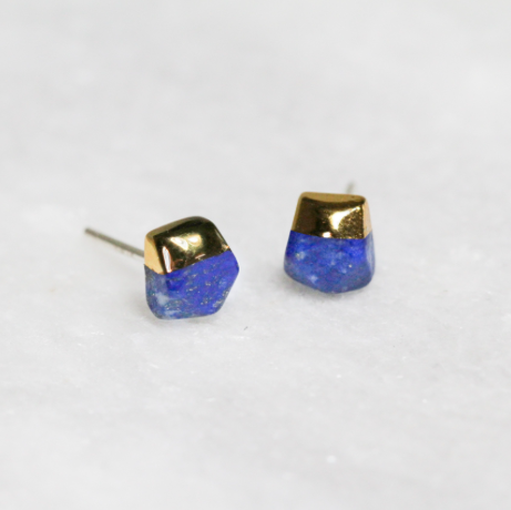 Gold Dipped Lapis Studs