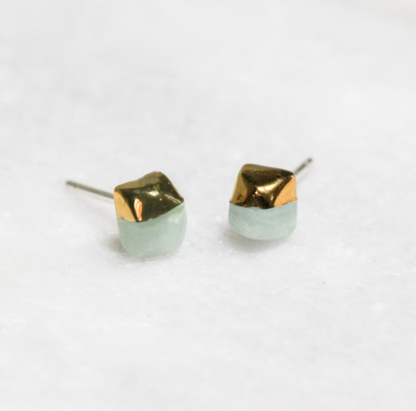 Gold Dipped Amazonite Studs