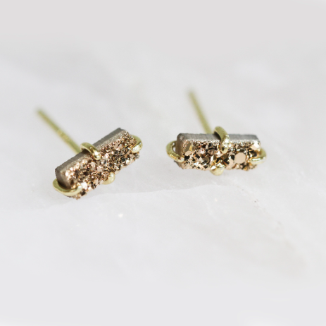Druzy Bar Stud - Rose Gold