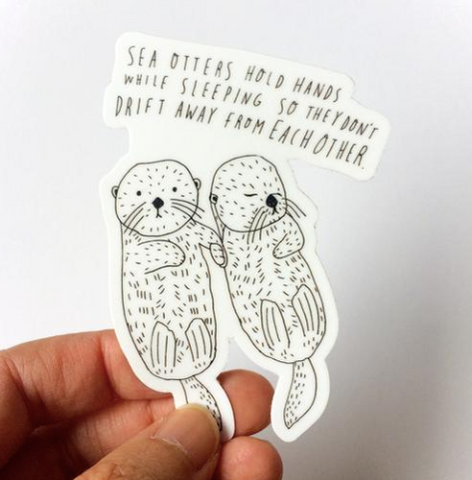 Sea Otter Holding Hands Vinyl Sticker