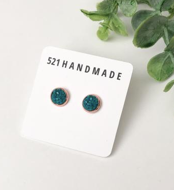 8mm Small Earrings - Turquoise/Rose Gold