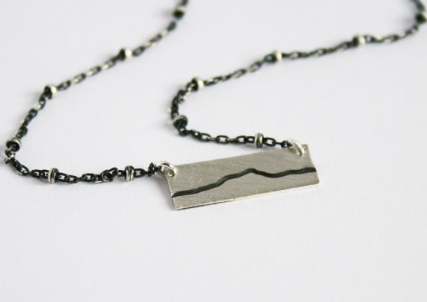Camel's Hump Necklace, Sterling Silver Oxidized Bar Necklace