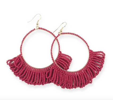 Fringe Hoop Seed Bead Earrings 3.5""