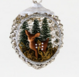Reindeer Pinecone Scene Ornament
