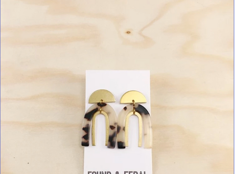 Stacked Arch Acetate and Brass Earrings