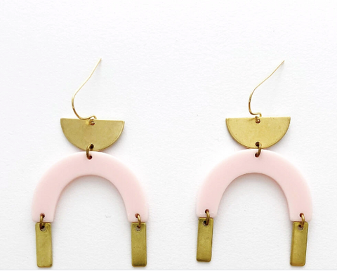 Bison Brass and Acetate Dangle Earrings