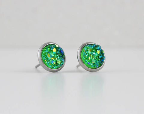 Shamrock Green Druzy Crystal Earrings