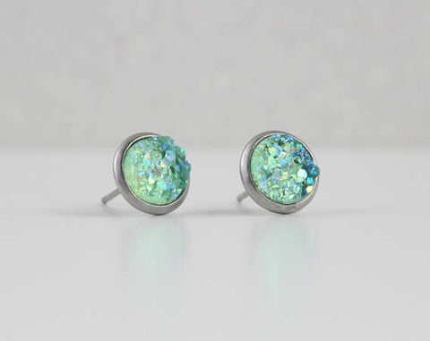 Fresh Mint Druzy Crystal Earrings