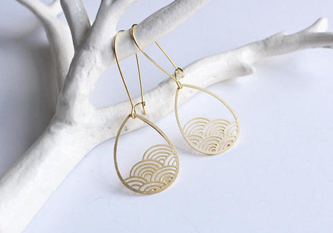 Raindrop Cloud Earrings | Brass
