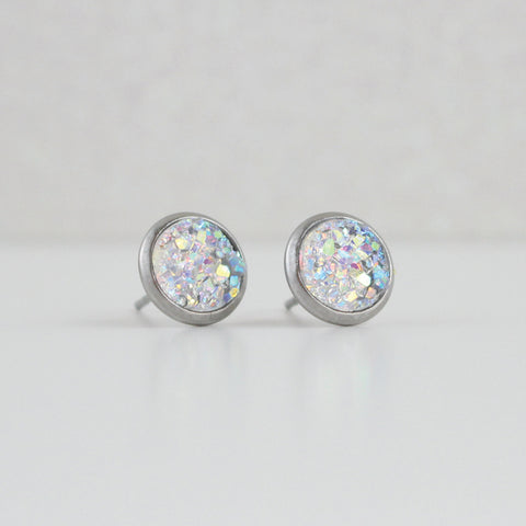 Clear Druzy Crystal Earrings