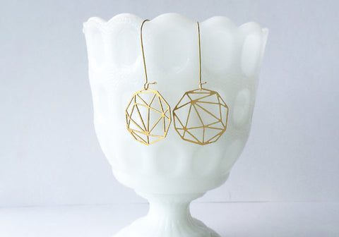 Faceted Geometric Sphere Earrings | Brass
