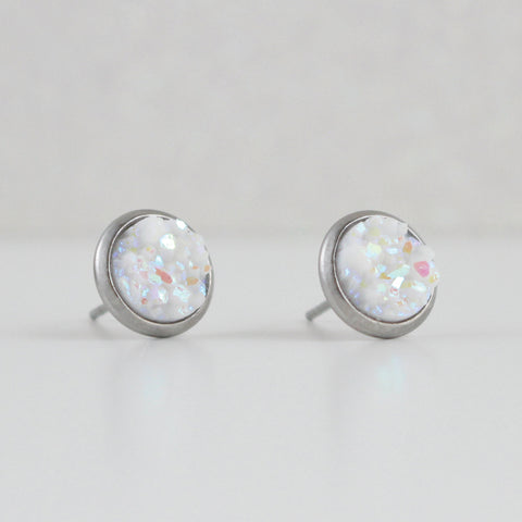Pearl White Druzy Crystal Earrings