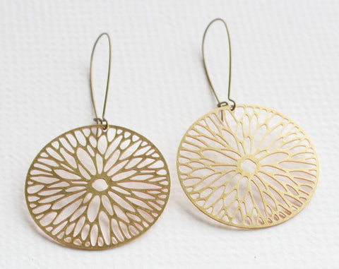 Firewheel Flower Blossom Earrings | Brass