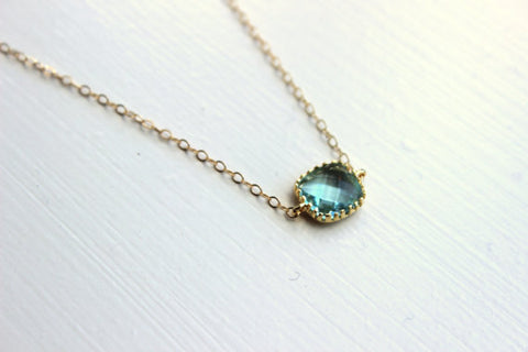 Dainty Prasiolite Green Necklace Gold