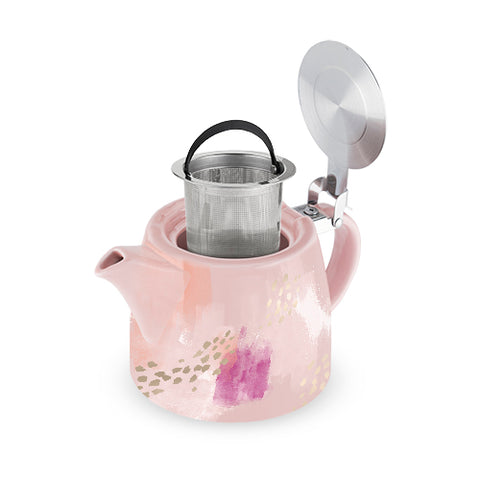 Harper Pink Abstract Ceramic Teapot & Infuser