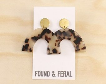 Dangle Acetate Earrings - Blond Tortoise // Brass