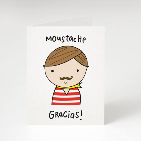 """Moustache Gracias""  (Red Shirt Option; Light Brown)- Thank you card"