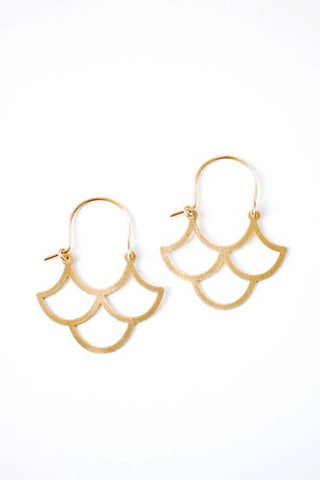 Small Scallop Wave Hoop Earrings