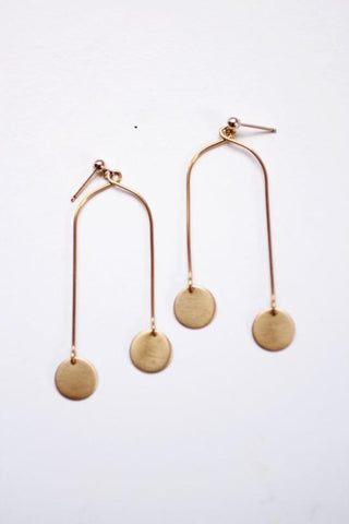 Mobile Brass Disc Earrings