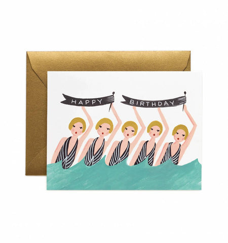 Synchronized Swimmers Birthday Card