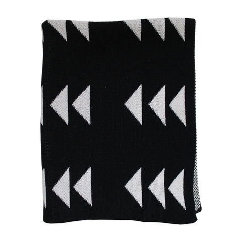 Triple Triangle Black Throw Mini